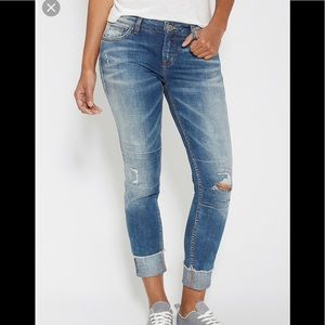 Silver girl friend cropped jeans